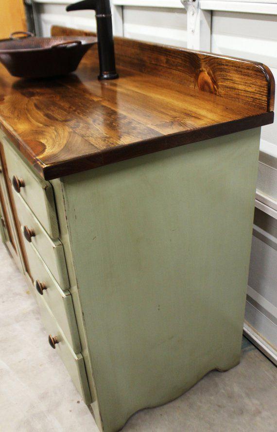 Rustic Farmhouse Vanity Copper Sink 60 Sage Green Etsy Copper Sink Farmhouse Vanity Rustic Vanity