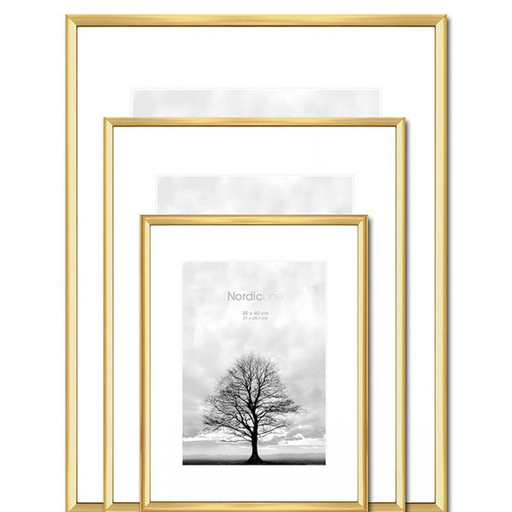 Minimalist Thin brass picture frame designed in Denmark now avilable in a variety of sizes at Designstuff.