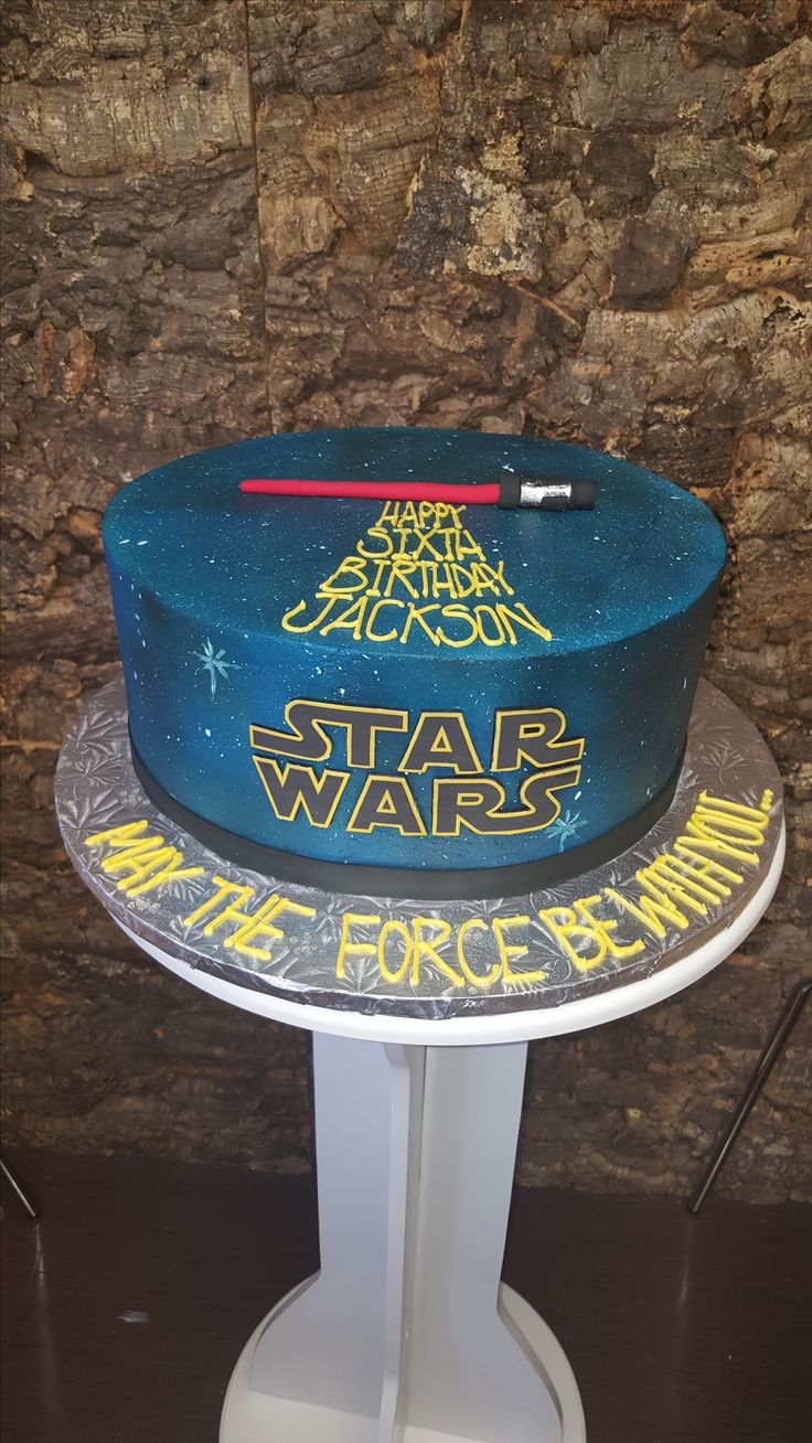 Star Wars inspired birthday cake airbrushed buttercream