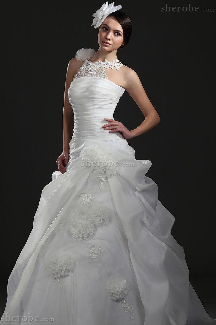 Outdoor Juwel Ausschnitt Halle Niedrige Taille Langes Brautkleid aus Organza