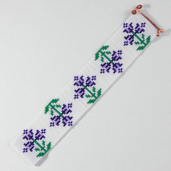 This Purple Spring Flowers Bead Loom bracelet was inspired by all the beautiful colors and patterns I see around me in Albuquerque, New Mexico. As