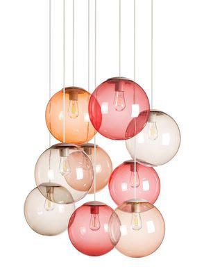 Suspension Spheremaker / Set 9 sphères Framboise, Taupe, Orange, Marron clair - Fatboy - Décoration et mobilier design avec Made in Design