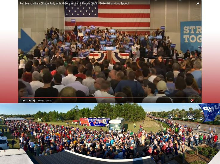 Hillary Clinton/Al Gore Crowd Miami Florida 10/11 vs. Line for Donald Trump's Rally Panama City Florida 10/11 http://ift.tt/2dHIUp9