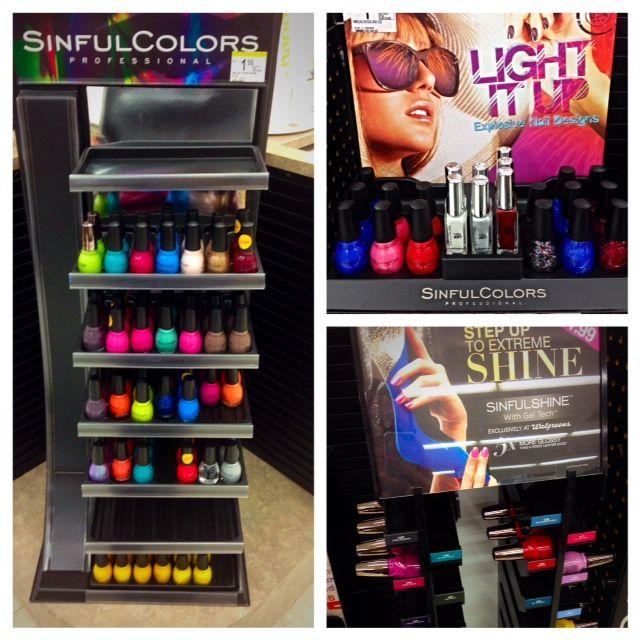 Sinful Colors Nail polish displays at Walgreens Sinful