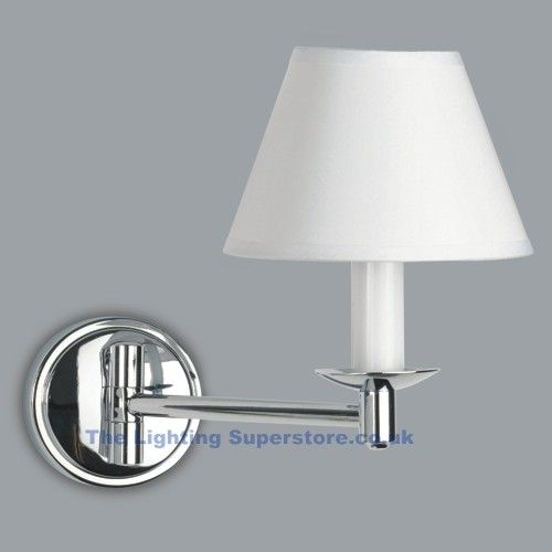 Lighting SUperstore - Melksham 0511 Grosvenor Modern Wall Light - IP44 Rated Bathroom wall light finished in chrome with White plastic shade. Fixed on a Polished Chro