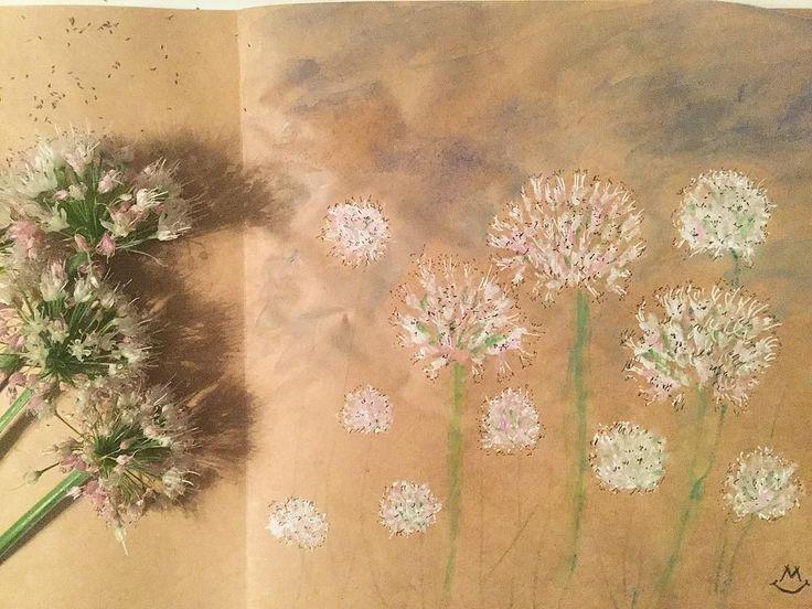 59 отметок «Нравится», 3 комментариев — Светлана (@svetico_art) в Instagram: «Цветы... лука-шалота. Давно собиралась нарисовать, а вдохновение пришло после заката 😉 #Shallots…»