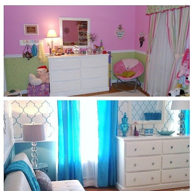 Before and after picture of this preteen bedroom, designed and tagged by @amatox3 . Love the colors! Great job! Continue HASHTAGGING #inspire_me_home_decor with your pics guys! Plz make sure your account is NOT set on private or else I can't see your pics.... - Interior Design Ideas, Interior Decor and Designs, Home Design Inspiration, Room Design Ideas, Interior Decorating, Furniture And Accessories