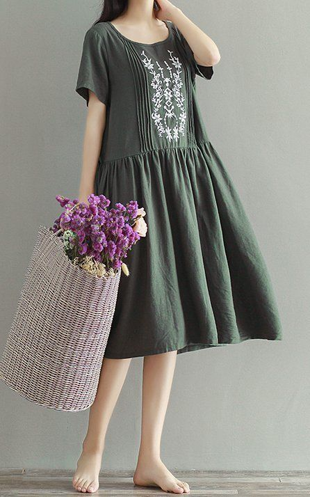 New Women loose fit dress flower embroidered dress skater skirt fashion chic #unbranded