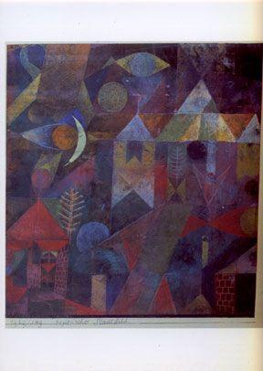 Kunst op postkaart  Titel: Mytisch Stadsbeeld. Kunstenaar Paul Klee