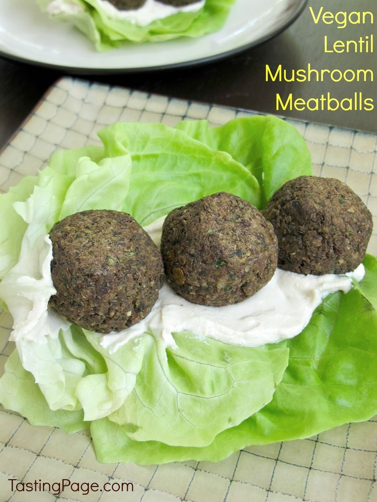 Vegan Lentil Mushroom Meatballs - a tasty meat-less meal filled with veggies - Tasting Page