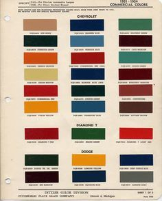 Ford Truck Restoration Parts >> 1951-1954 Chevrolet Colors | Truck paint, Chevy trucks ...