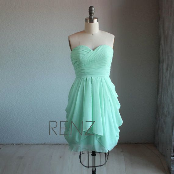 MINT Wedding dress , chiffon party dress, mint blue bridesmaid dress, strapless formal dress  (B062) on Etsy, $98.00 but lavender or eggplant