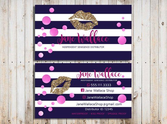 Lipsense Business Cards Distributor Senegence Business Cards Navy And Pink Glitter Busine Printable Business Cards Striped Business Card Glitter Business Cards