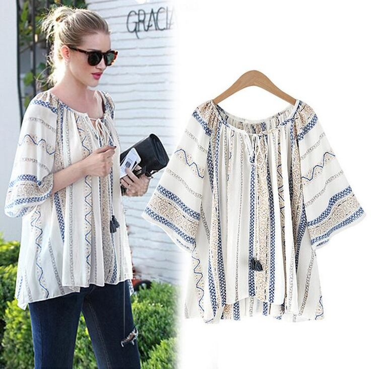 >> Click to Buy << Casual Women's Blouse Strap O-neck Loose Ethnic Trend Printing Three Quarter Sleeve Top Women Chiffon Blusa Feminina All-matched #Affiliate