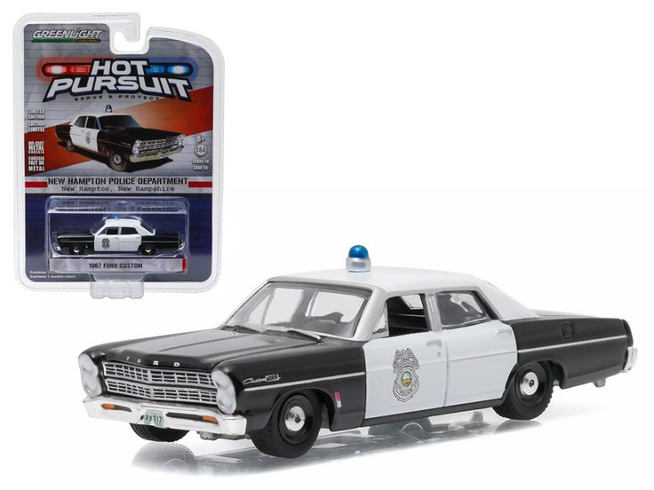 1967 Ford Custom New Hampton New Hampshire Police Car 1/64 Diecast Model Car by Greenlight - Brand new 1:64 scale car model of 1967 Ford Custom New Hampton New Hampshire Police Car die cast model car by Greenlight. Limited Edition. Has Rubber Tires. Comes in a blister pack. Detailed Interior, Exterior. Metal Body and Chassis. Officially Licensed Product. Dimensions Approximately L-2 1/2 Inches Long.-Weight: 1. Height: 5. Width: 9. Box Weight: 1. Box Width: 9. Box Height: 5. Box Depth: 5