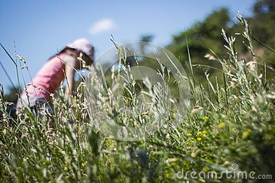 Grass low angle view, girl in the background blurred against blue sky,