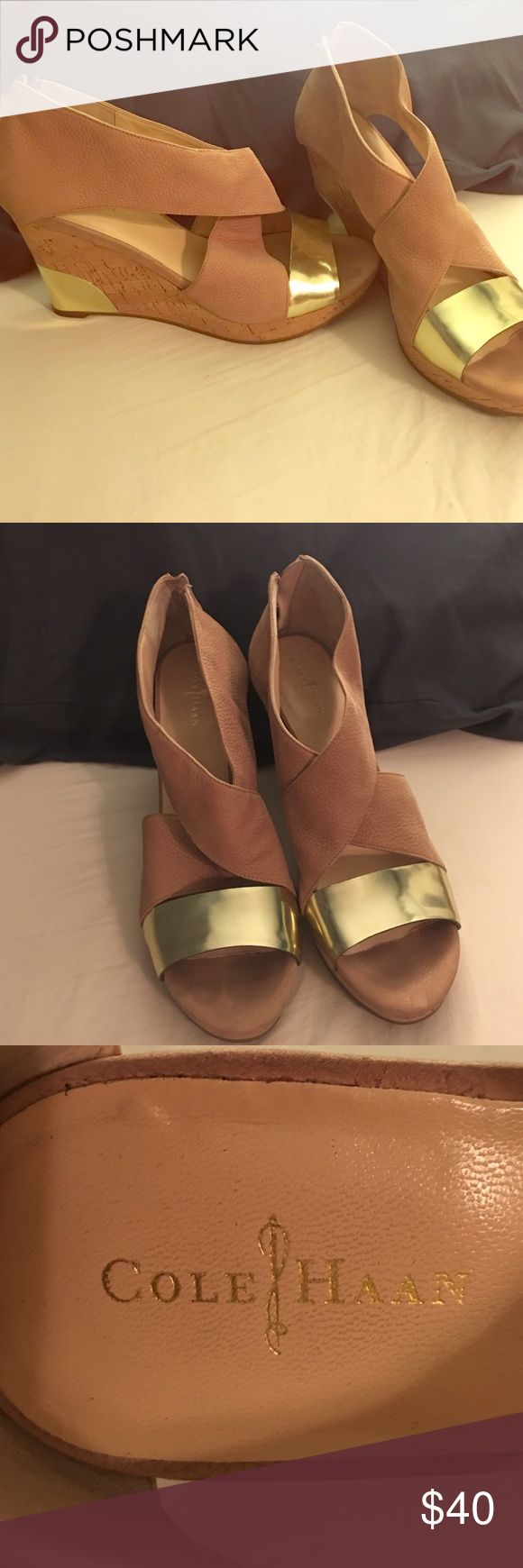 Cole Hann Gold and Tan Wedges Gold and Tan Cole Hann Wedges Size 9 Cole Haan Shoes Wedges