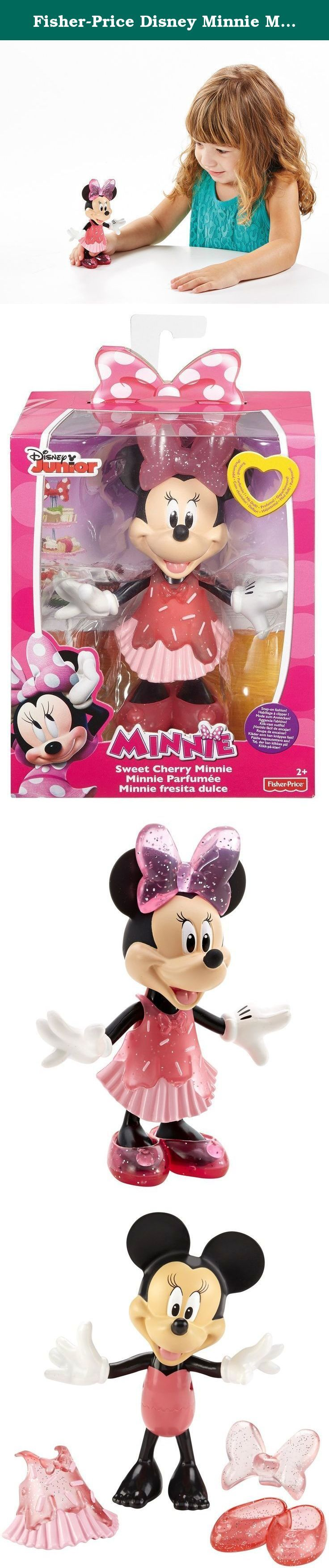"""Fisher-Price Disney Minnie Mouse Sweet Cherry Doll Set. Minnie Mouse is a sweet dream in her cherry inspired easy Snap-On dress! Minnie """"delicious"""" outfit comes with a lovely cherry-colored bow, cupcake sprinkle dress and sweet Snap-On shoes. But not only does Minnie look sweet – she smells sweet as well! includes a 5-inch cherry-scented Minnie dress-up doll, Snap-On dress, bow and shoes."""