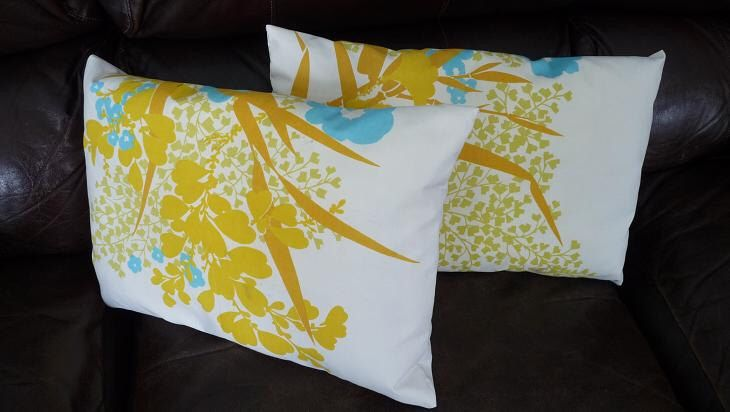 Retro Mustard Turquoise Asian Throw Pillows Vintage Linen Foliage Plants Mod Blue Yellow by MinnesotaJunker on Etsy https://www.etsy.com/listing/174140917/retro-mustard-turquoise-asian-throw