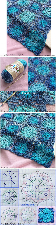 Квадратный мотив от Фионитты. Фото + схемы. | Букет голубых фиалок | Постила