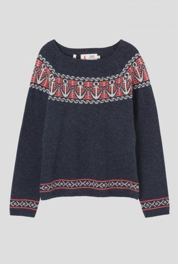 Polglaze Jumper | Retro, seaside inspired jumper in super soft lambswool. With long sleeves, boat neck, anchor knit design and Fair Isle pattern trim to hem and cuffs. Lovely with denim for a day on the coast, or anywhere for that matter.