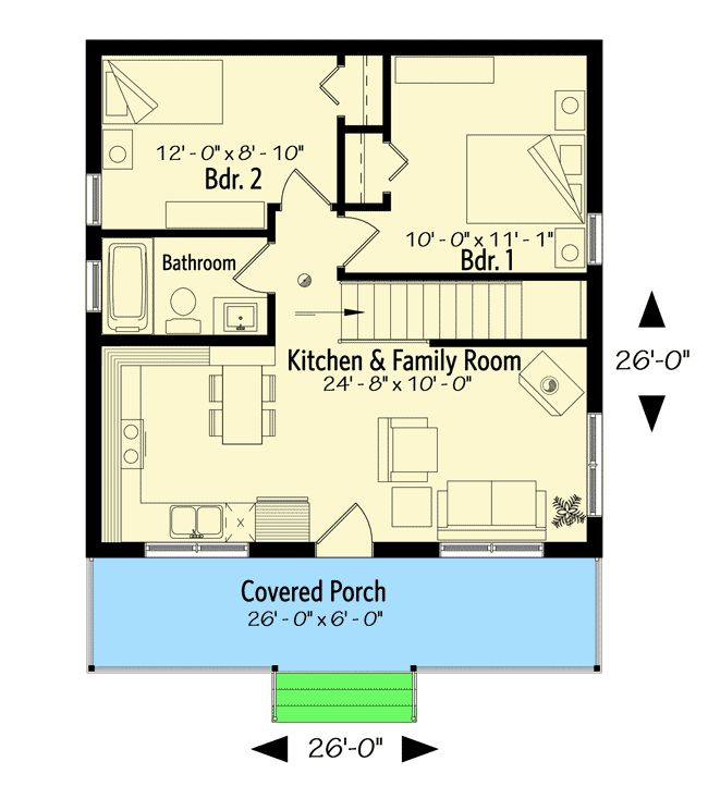 Plan 22458DR Tiny Weekend Getaway House With Options