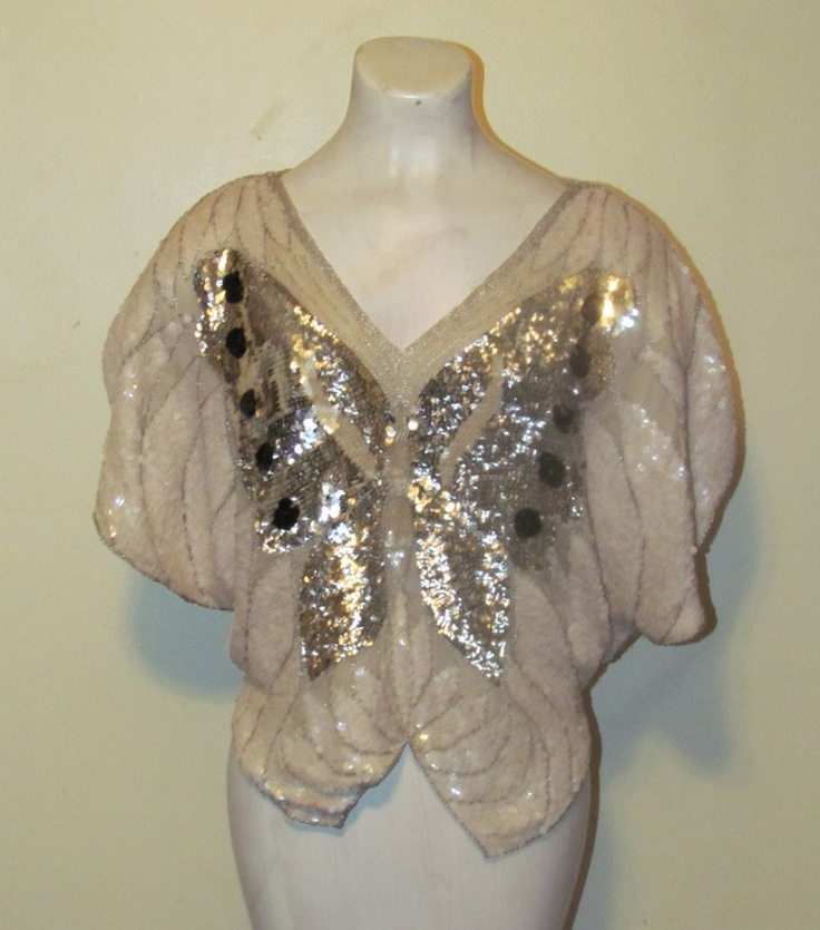 White & Silver Sequin Butterfly Shirt