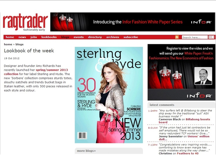RAGTRADER STERLING AND HYDE FEATURE