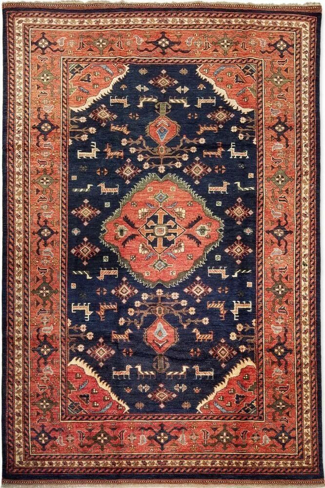 Hand Knotted New Rug Afghan Nirvana Tribal Wool Blue Oriental Carpet 6 8 X 10 Unbranded Tribalfolkart