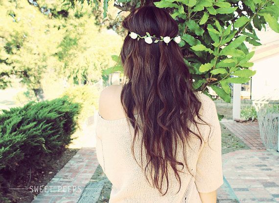 Romantic Flower Headband, Flower Crown, Rose Bud Hippie Flower Crown, Head Chain Flower HeadBand
