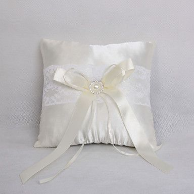 Lovely Rhinestone Decoration Smooth Satin Wedding Ring Pillow – USD $ 8.99