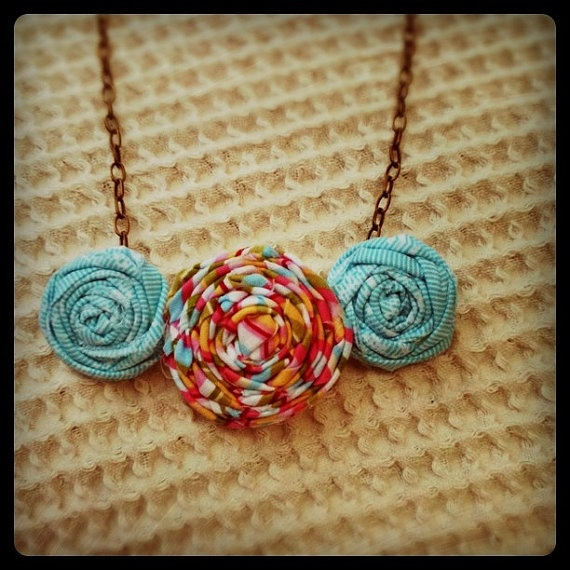 rolled fabric flower necklace
