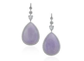 Nina Runsdorf's earrings are made in 18-karat white gold with lavender jade, diamonds and pavé diamonds ($27,600).