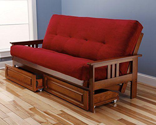Eldorado Futon Brown Finish Frame w/ Coil 8 Inch Mattress Full Size Sofa Bed (Red w/ Drawer set)  http://www.furnituressale.com/eldorado-futon-brown-finish-frame-w-coil-8-inch-mattress-full-size-sofa-bed-red-w-drawer-set/
