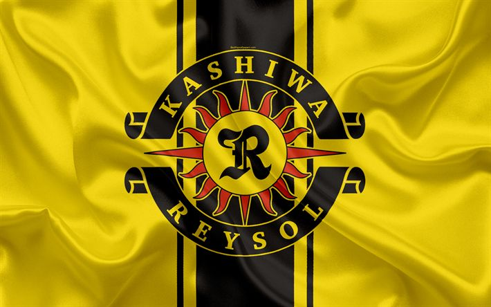 Download wallpapers Kashiwa Reysol, 4k, Japanese football club, logo, emblem, J-League, football, Kashiwa, Chiba, Japan, silk flag, League Division 1, Japan Football Championship