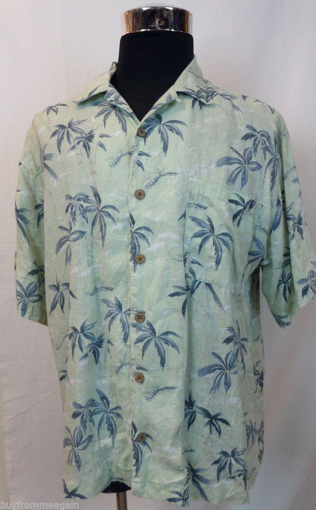Tommy Bahama Hawaiian Shirt Light Green Palms Men Linen