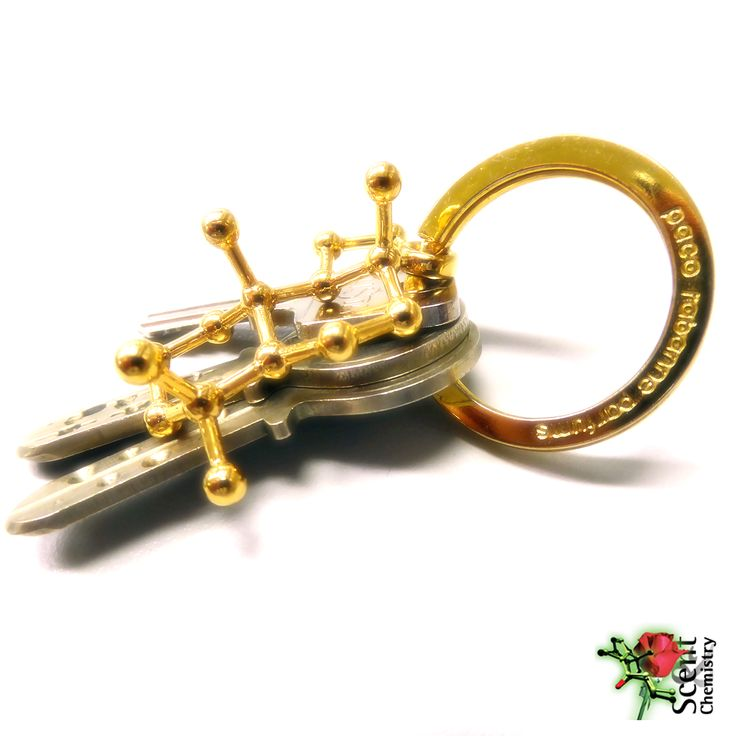 An 18k gold-plated Ambrox keychain with a gold-plated key ring of paco rabanne parfums, famous for their xtreme ambery perfumes. (–)-Ambrox is the principal odorant of ambergris, a precious ancient perfumery material that had also been used as medicine, condiment and aphrodisiac. According to Jean-Paul Guerlain, ambergris lumps smell of 'rye bread and horse manure,' but tinctured in alcohol, ambergris releases a delicate, warm, soft, slightly saline scent.