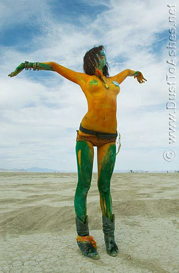 Body-Paint-Hot-Beautiful-Woman-Girl-People-Green-Orange-Yellow-Arms-Burning-Man-2009-Art-Evolution-Festival-Desert-Gerlach-Nevada-Picture-Photo