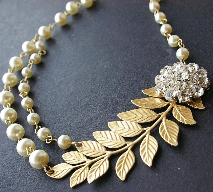 Wedding Gold Necklace With Pearls