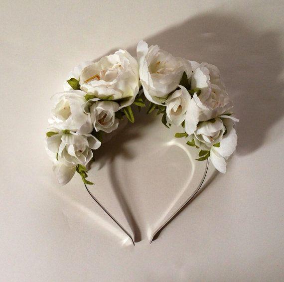 Ivory Floral Crown  Floral Crown Bridal por CameronCouture en Etsy