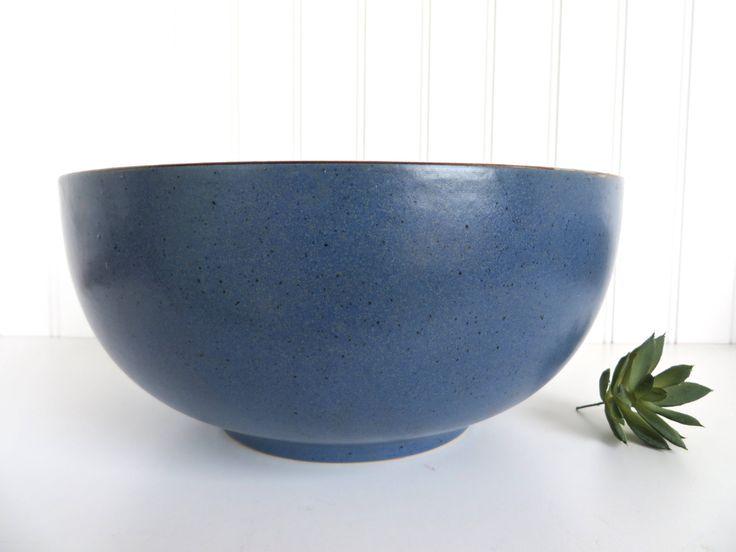 """Dansk Mesa Blue 10 3/8"""" Serving Bowl, Modern Southwestern Stoneware Bowl, Dansk Mesa Mixing Bowl, Nesting Bowl, Blue Boho Kitchen by HerVintageCrush on Etsy"""