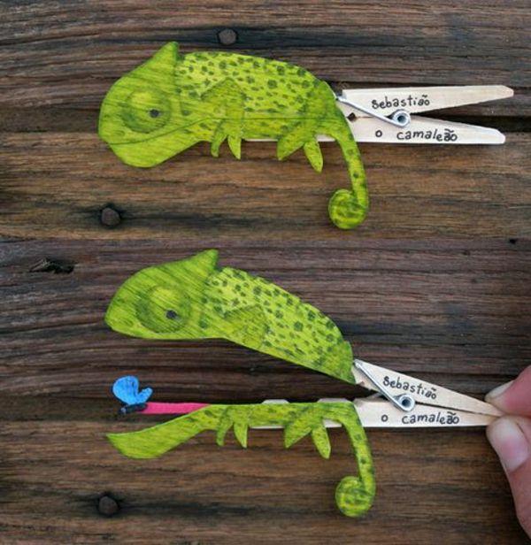 DIY Basteln mit Wäscheklammern - ein lustiges Chamäleon zum Beispiel ❤︎