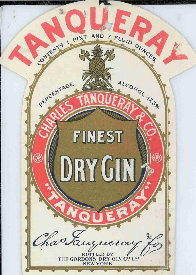 Tanqueray Gin label, 1917