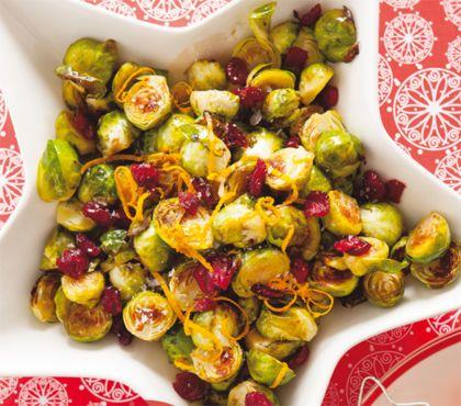 Recept voor geroosterde spruitjes met balsamico en cranberry's