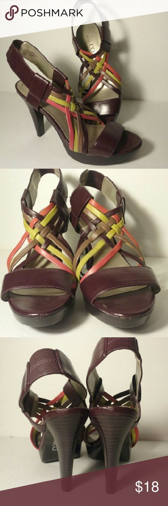 "EUC Nine & Co brown green strappy heel 6.5M Delightful maroon heels with sage and coral accents. Vegan leather, 4"" heel on a 1"" platform. EUC sz 6.5 Nine & Co. Shoes"