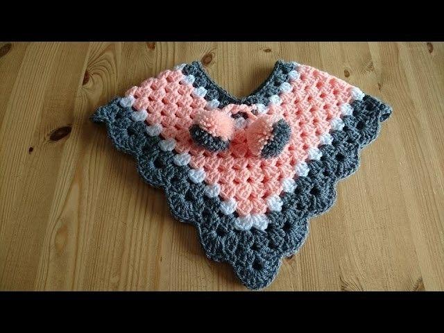 NewBorn - 3 Months Poncho - Crochet - Tutorial - English