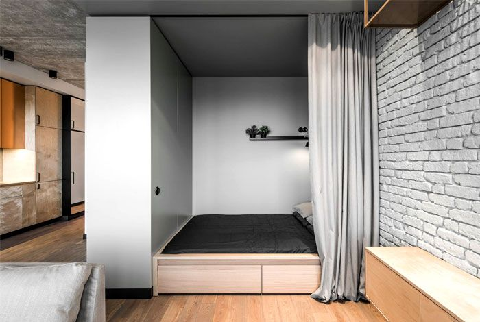 Space Saving Design For Studio Apartment Small Apartment Bedrooms Small Apartment Design Simple Bedroom
