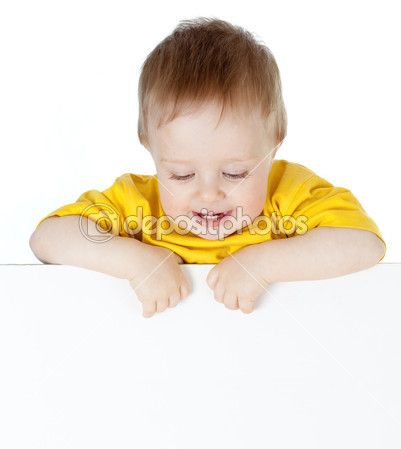 Cute small child with blank advertising banner — Stock Image #9594223