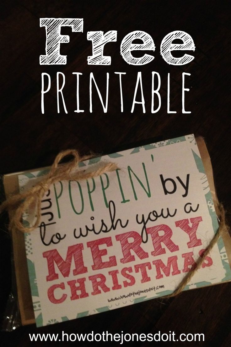 Looking for a Christmas gift that costs next to nothing?! Microwave popcorn with this free Just Poppin' by to Wish You a Merry Christmas printable might just do the trick!