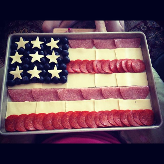 Make a patriotic, No-Carb snack in a snap! Take Salami (folded), American Cheese, Pepperoni, & blueberries & have some fun. Created by Aleah Nieshalla (15)